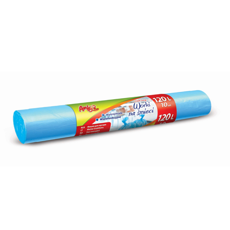 AMIGO Worki na śmieci LDPE 120L 10szt. niebieskie